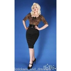 Deadly Dames Micheline Pitt Leopard Print Dress XS